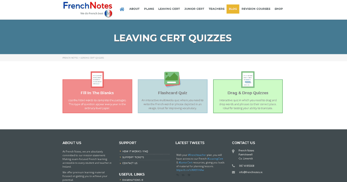 leaving cert quizzes french notes quizzes for leaving cert. Black Bedroom Furniture Sets. Home Design Ideas